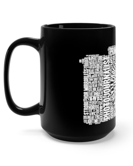 Photography Word Cloud Black Mug 15oz (Black)