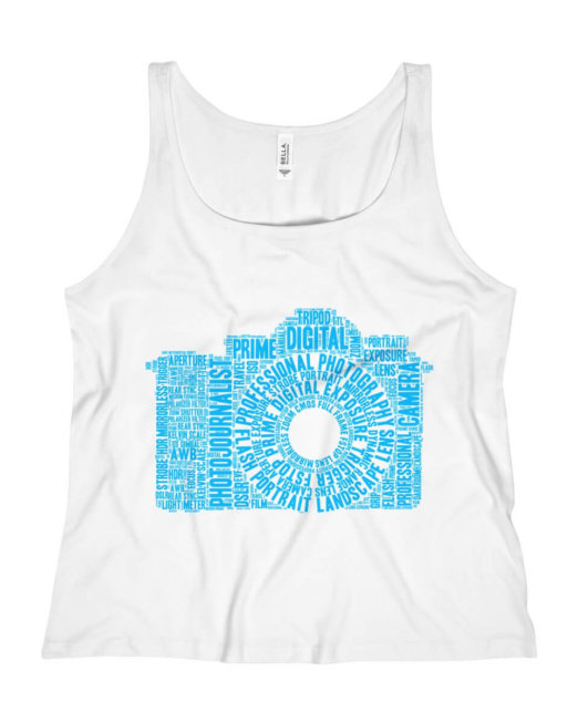 Women's Relaxed Photography Word Cloud Camera Tank Top