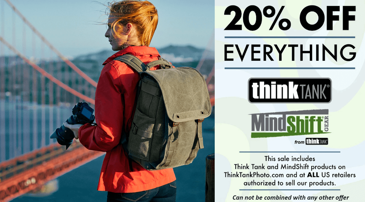 Think Tank Photo Sale 20% off• Think Tank - Best camera bags shoulder bags backpacks and rollers